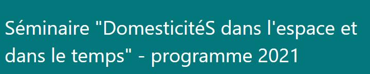 Programme Séminaire DomesticitéS